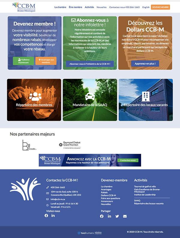 Site Web CCB-M.ca : page d'accueil de la Chambre de commerce de Brome-Missisquoi