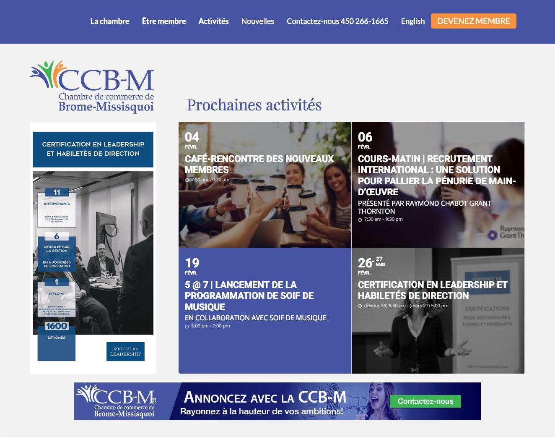 Page d'accueil du site Web de Chambre de Commerce de Brome Missisquoi