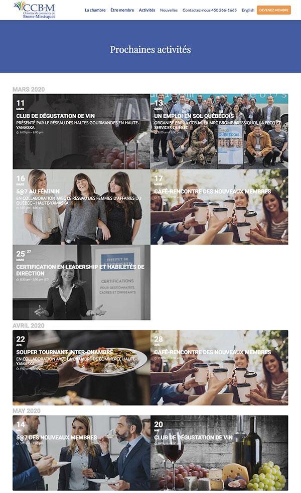 Site Web CCB-M.ca : calendrier d'activités