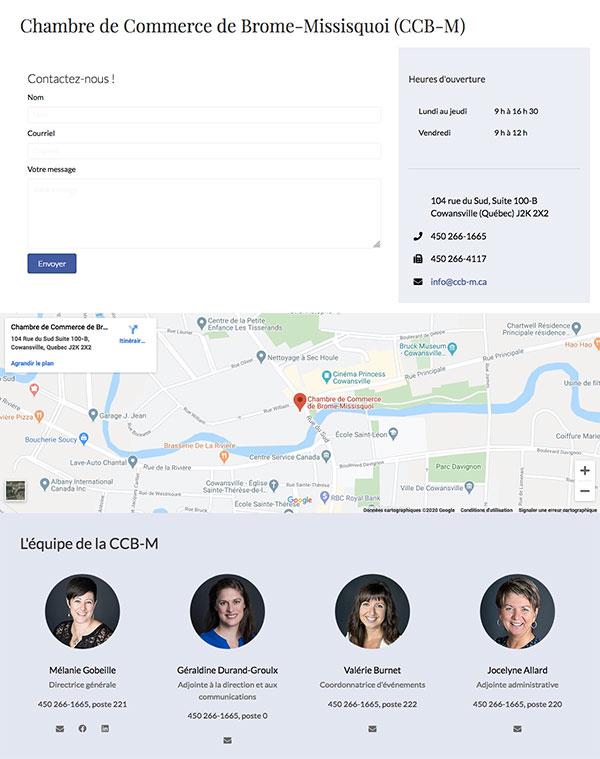 Site Web CCB-M.ca : Page de contact avec une carte intéractive et un formulaire de contact.