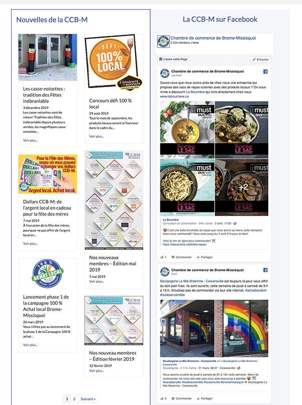 Site Web CCB-M.ca : Page de nouvelles avec intégration des articles du site et le flux Facebook.