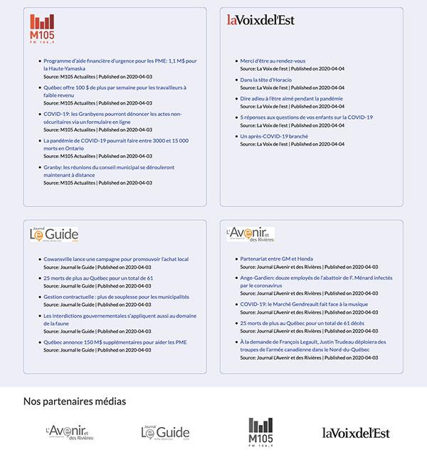 Site Web CCB-M.ca : Page de nouvelles avec intégration des flux de nouvelles des partenaires média.