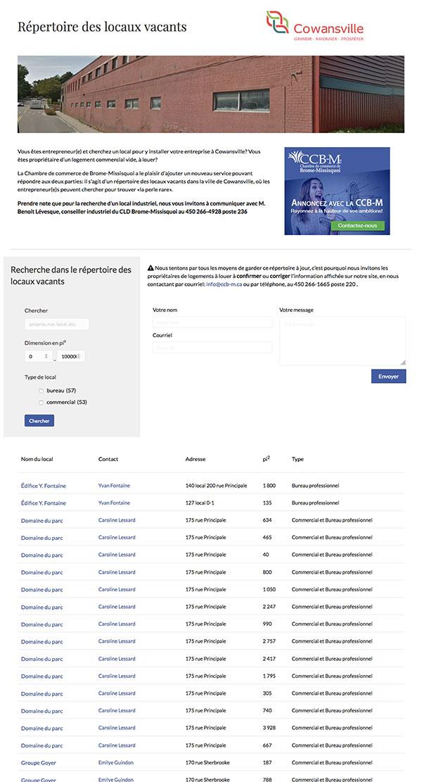 Site Web CCB-M.ca : Répertoire des locaux vacants