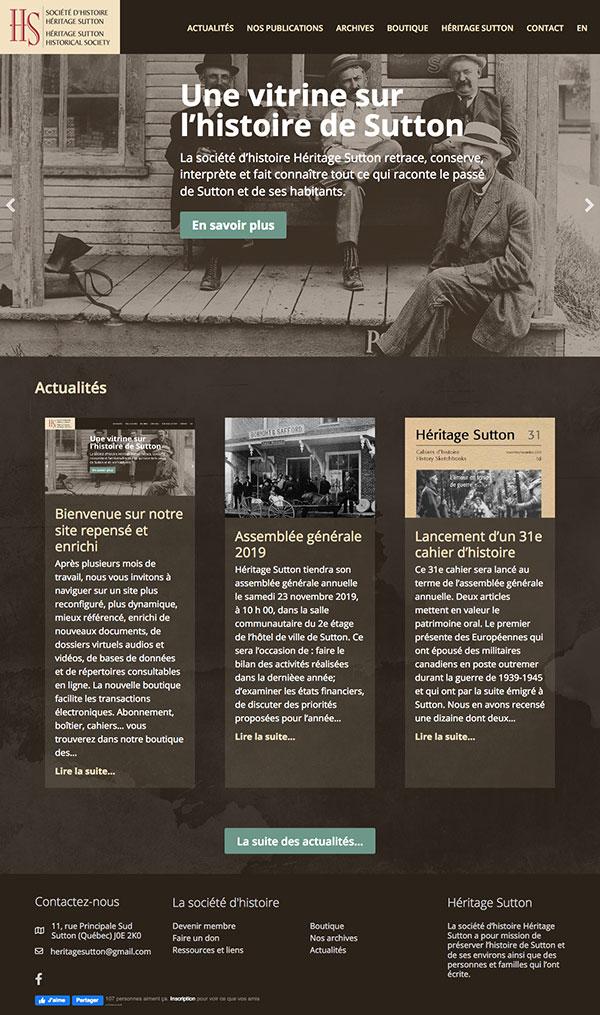 Page d'accueil Société Héritage Sutton