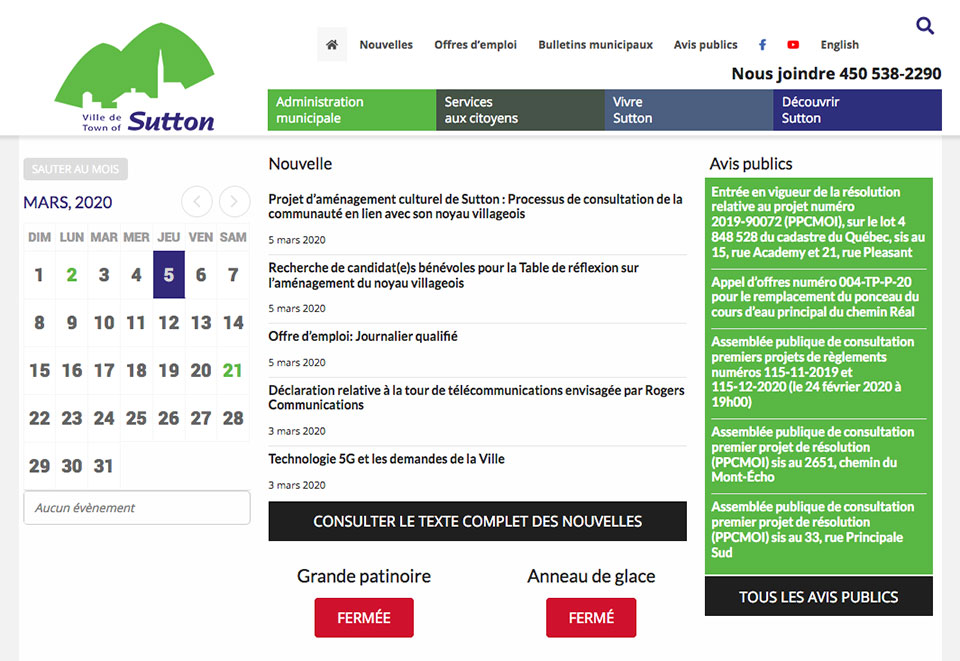 Site Web de la Ville de Sutton par two humans
