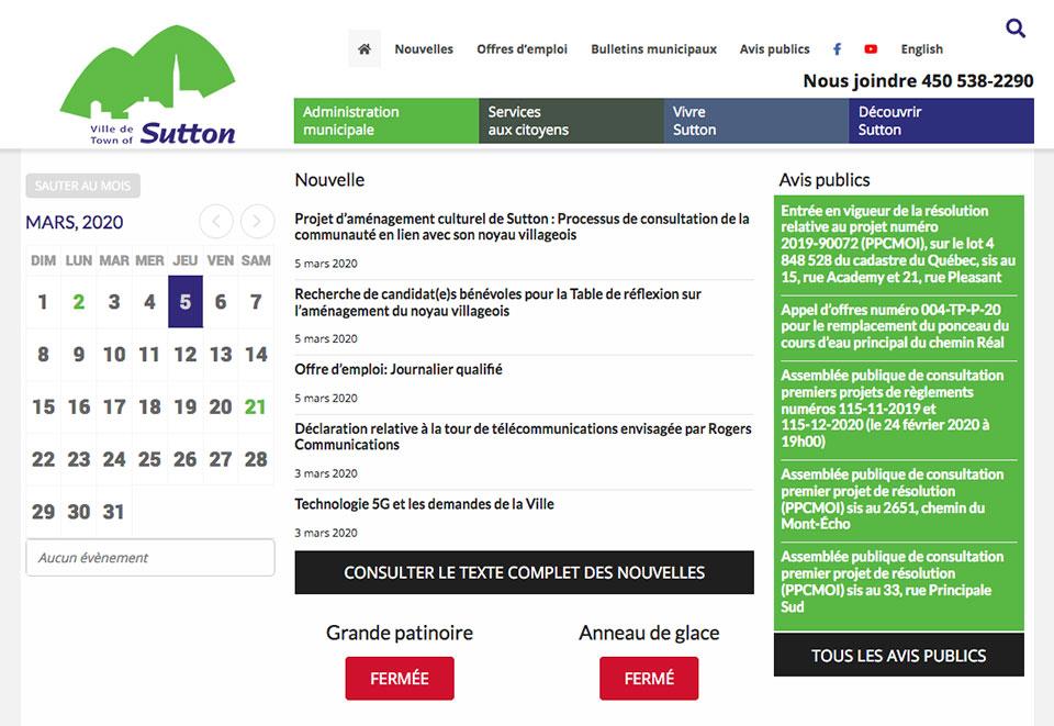 Site Web de la Ville de Sutton par two humans