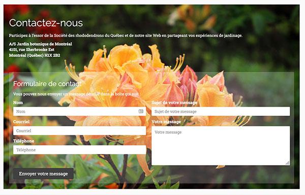 La Société des rhododendrons du Québec - Page de contact par Two Humans