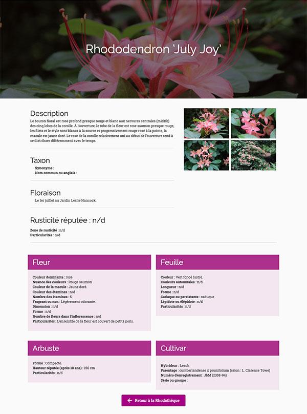 La Société des rhododendrons du Québec - Base de donnée Rhodothèque par Two Humans