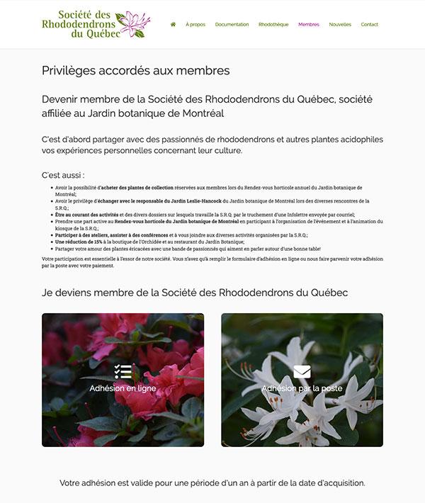 La Société des rhododendrons du Québec - Gestion d'adhésion par Two Humans