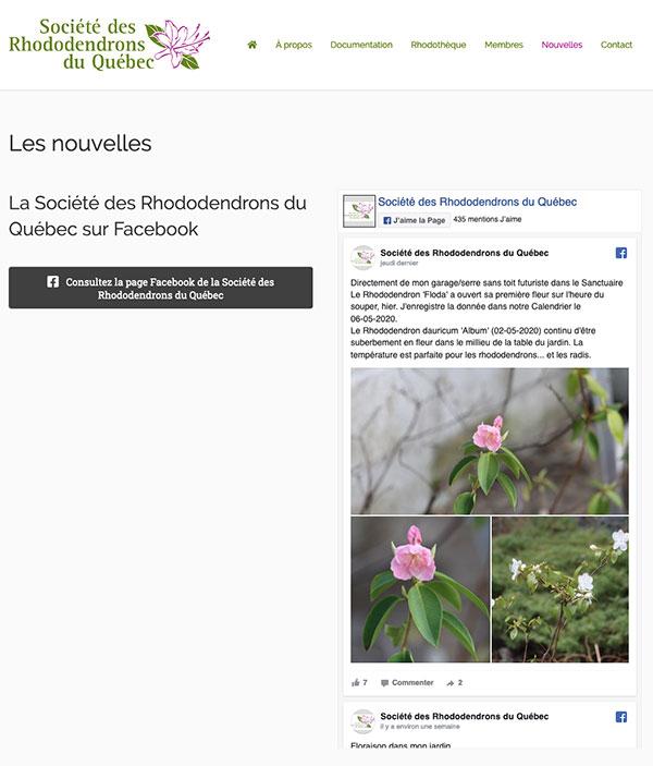 La Société des rhododendrons du Québec - Intégration Facebook par Two Humans